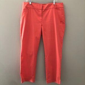 Loft Curvy Ankle Pants Coral Orange Size 14